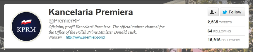 Polish Prime Minister's Office in Twitter