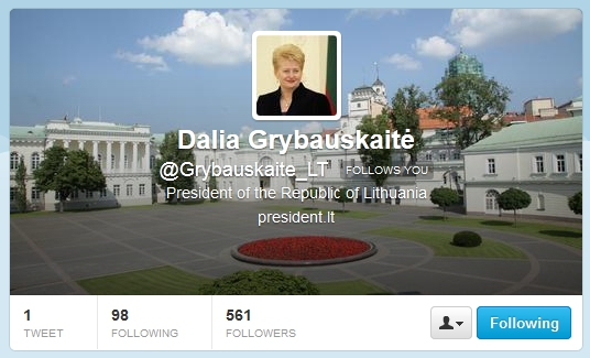 President Grybauskaite on twitter