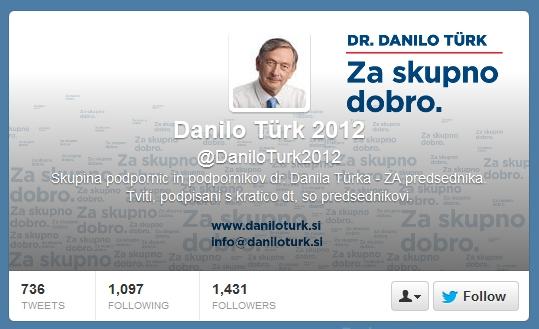 Danilo Türk on twitter