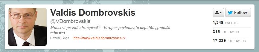 Valdis Dombrovskis on Twitter