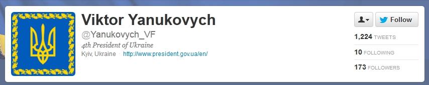 Viktor Yanukovych on twitter