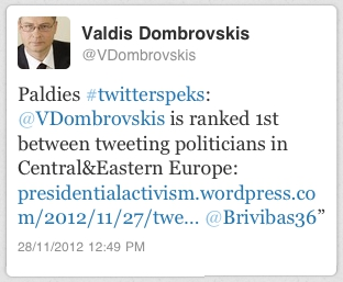 Valdis Dombrovskis shares presidentialactivism.com ranking on Twitter