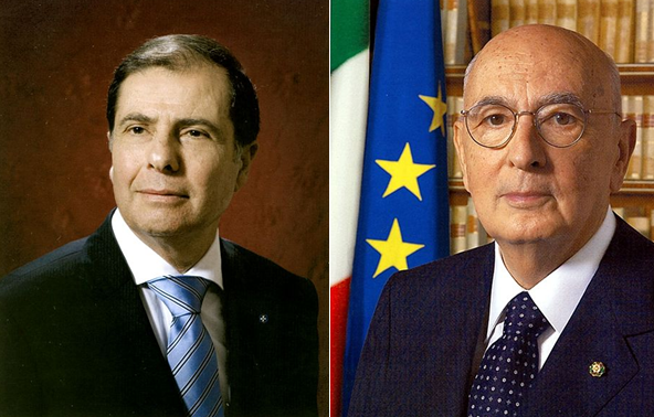 While Maltese president George Abela (left) can only serve a single term of five years, Italy's Giorgio Napolitano has recently been elected for his second 7-year term and there is no term-limit |photos via wikimedia commons